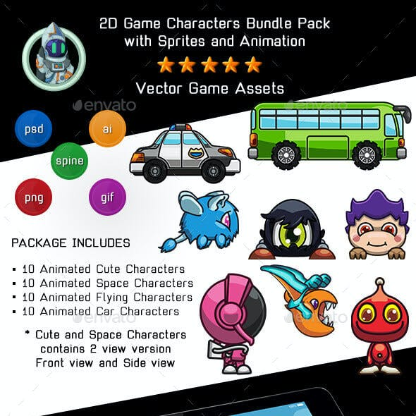 Vector Game Characters Sprites Bundle - Cartoon, Flying and Cars