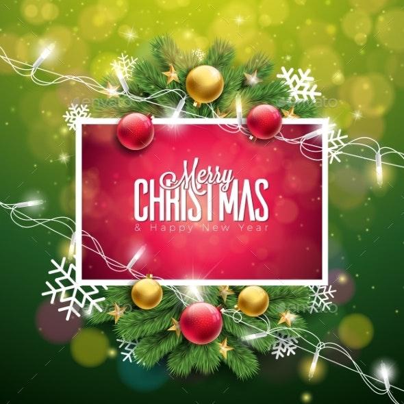 Christmas Illustration on Green Background - Christmas Seasons/Holidays