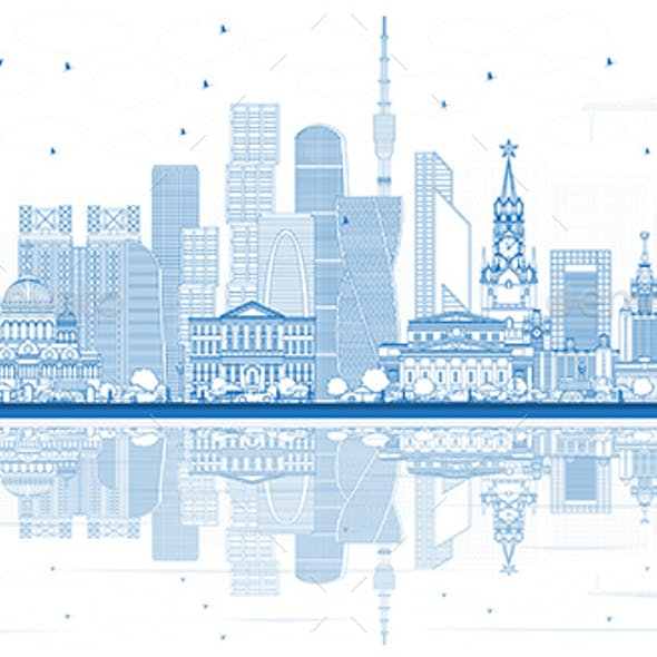 Outline Moscow Russia Skyline with Blue Buildings and Reflections