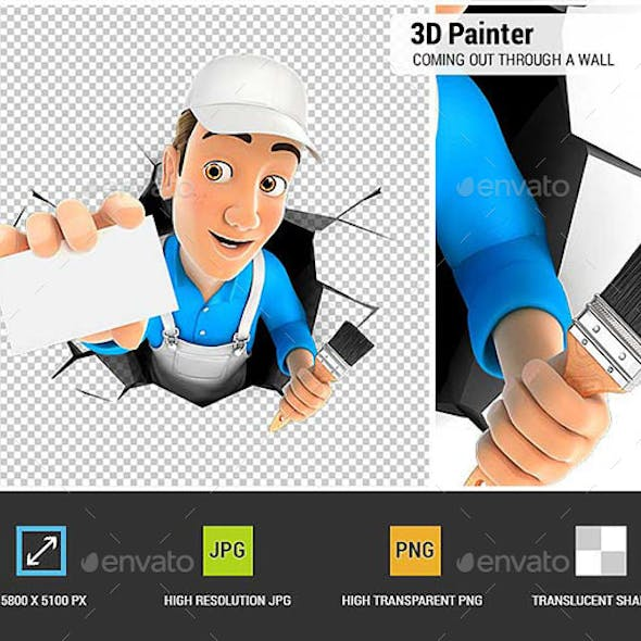 3D Painter Coming Out Through a Wall with Company Card