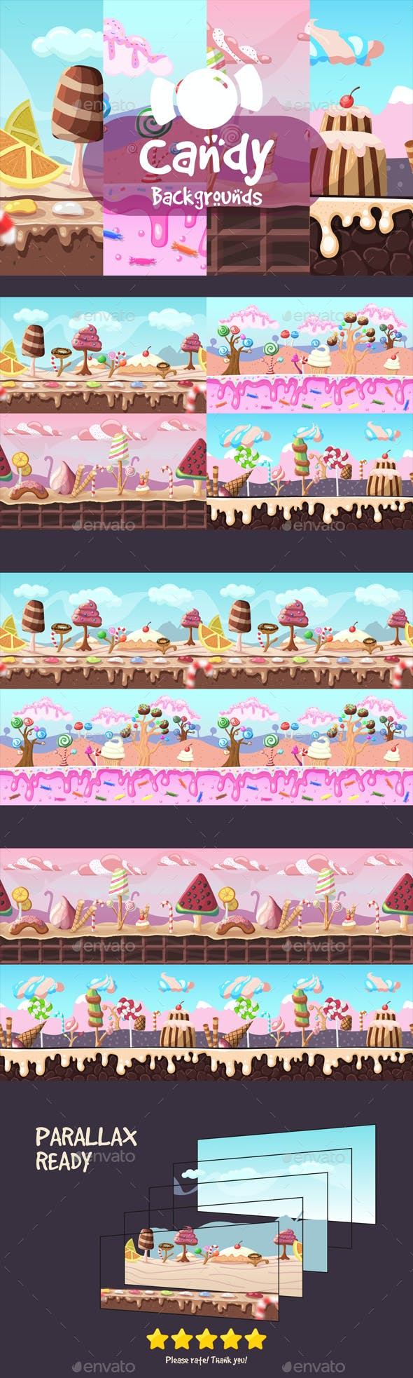 Parallax Candy 2D Backgrounds
