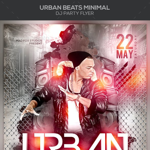 Urban Beats Minimal Dj Party Flyer