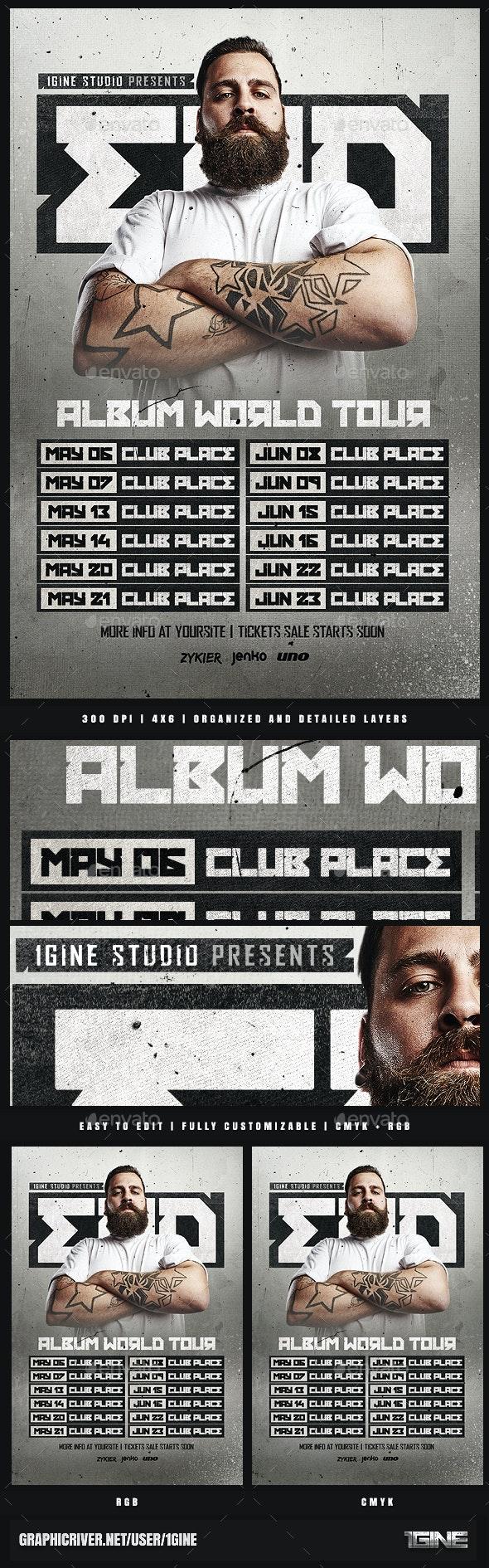 DJ World Tour Dates Flyer Template - Clubs & Parties Events