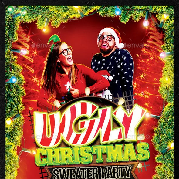 Ugly Christmas Sweater Party Flyer