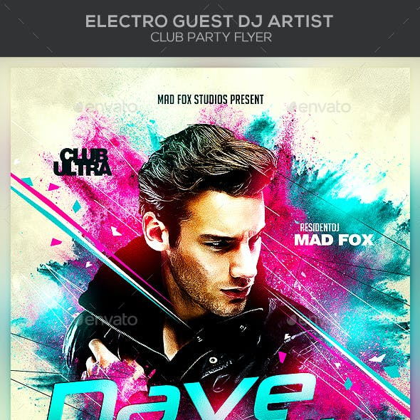 Electro Guest Dj Artist Club Party Flyer