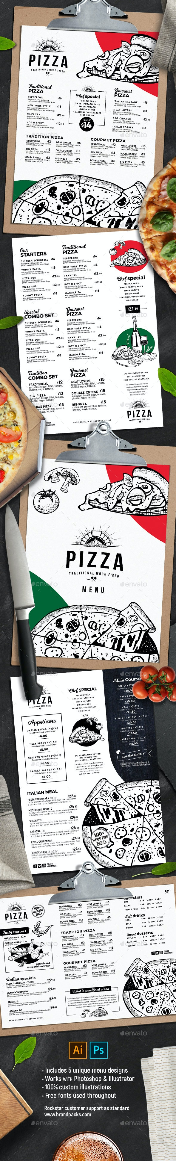 Pizza Menu Templates - Food Menus Print Templates