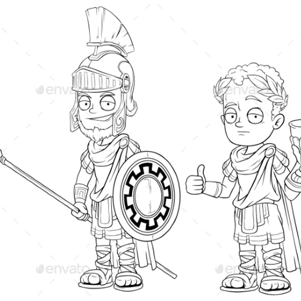 Cartoon Roman Imperator with Spear Character Set