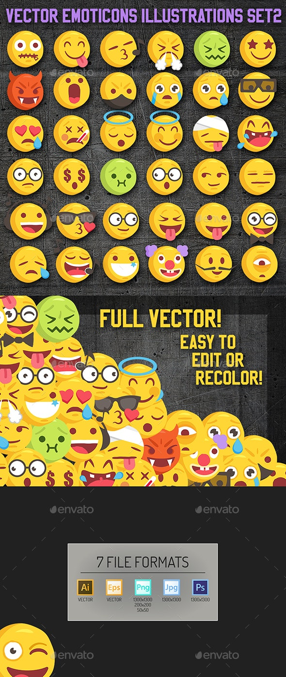 36 Rough Sketch Vector Emoji Set2 - Decorative Symbols Decorative