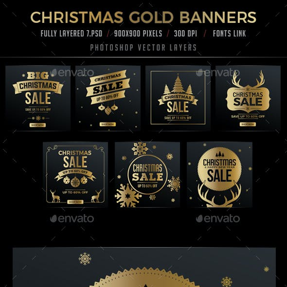 7 Christmas Gold Banners