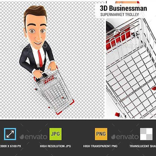 3D Businessman Empty Supermarket Trolley