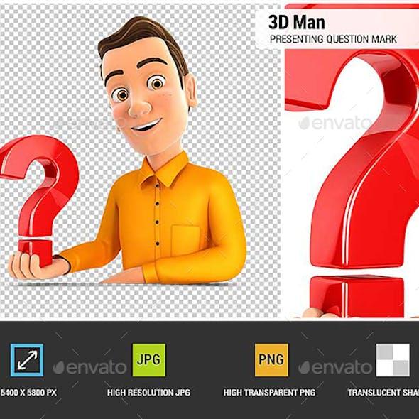 3D Man Presenting Question Mark