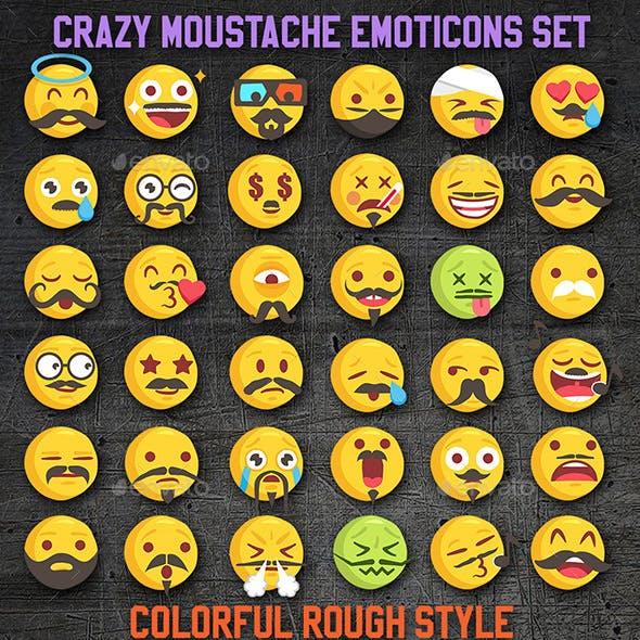 Vector Emoji Moustache Set