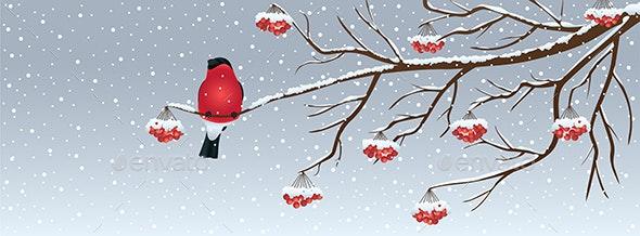 Christmas Background with Birdie - Christmas Seasons/Holidays