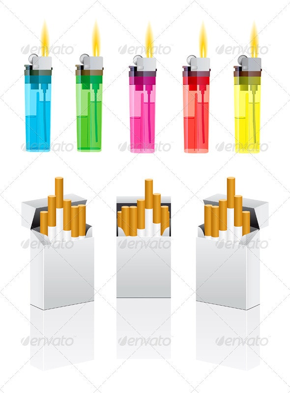 Vector Cigarettes Pack And Cigarette Lighter - Objects Vectors