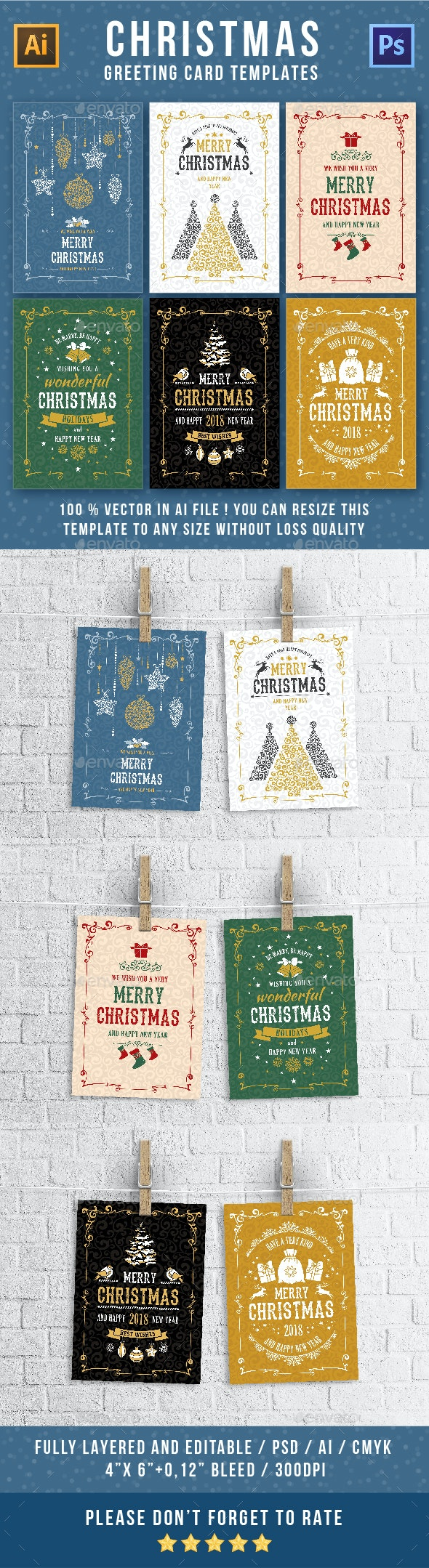 Christmas Greeting Cards Templates Set - Greeting Cards Cards & Invites