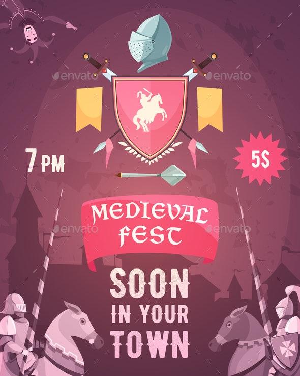 Medieval Fest Announcement Cartoon Poster - Backgrounds Decorative
