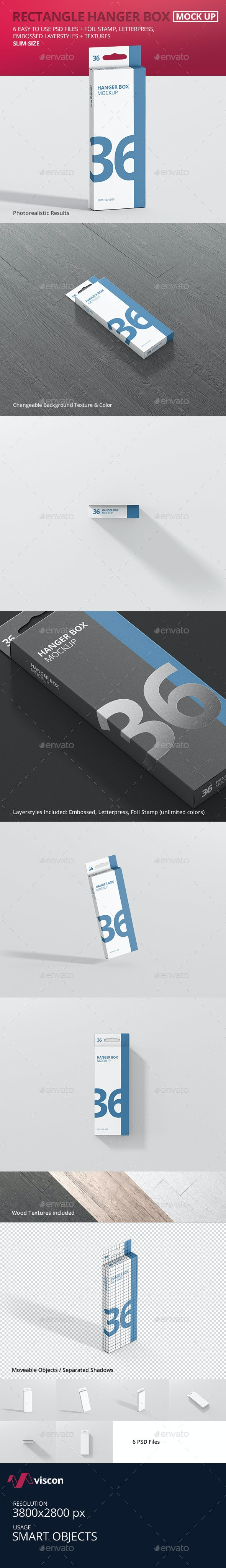 Box Mockup - Rectangle Slim High with Hanger - Miscellaneous Packaging