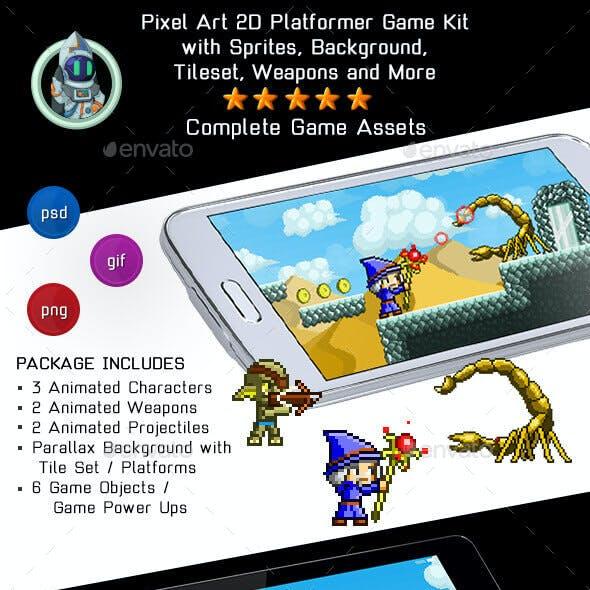Game Assets Pixel Platformer Kit - Sprites, Background and Weapons