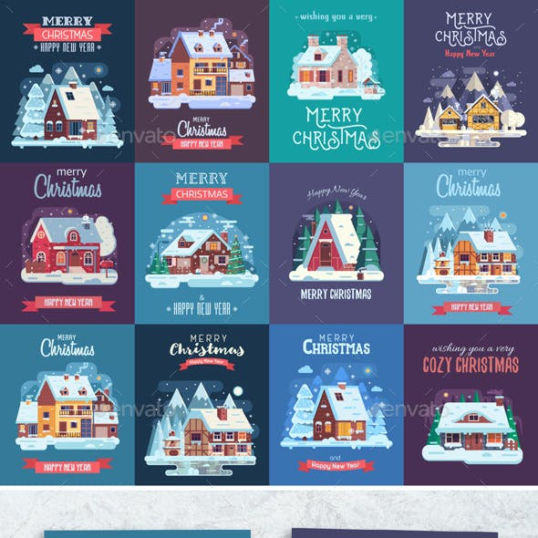 Rural Winter Houses Christmas Cards