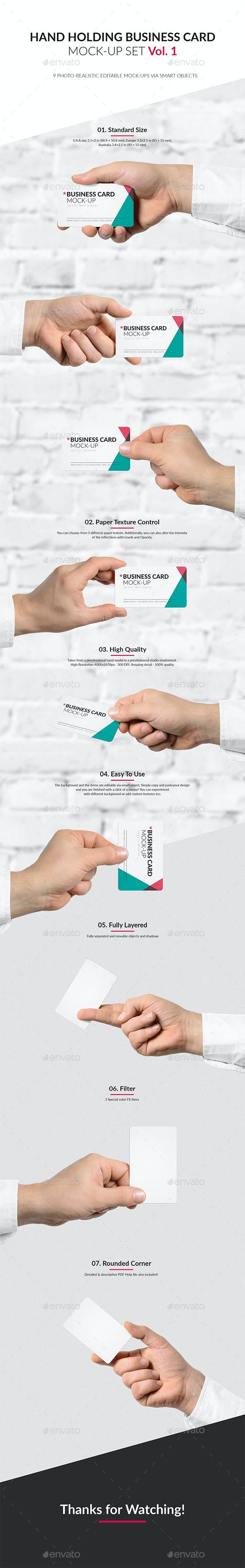 Hand Holding Business Card Mock-Up Set Vol.1 - Business Cards Print
