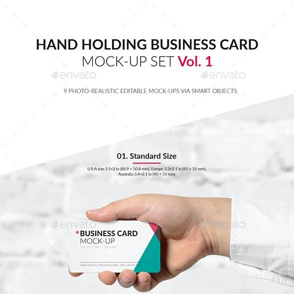 Hand Holding Business Card Mock-Up Set Vol.1