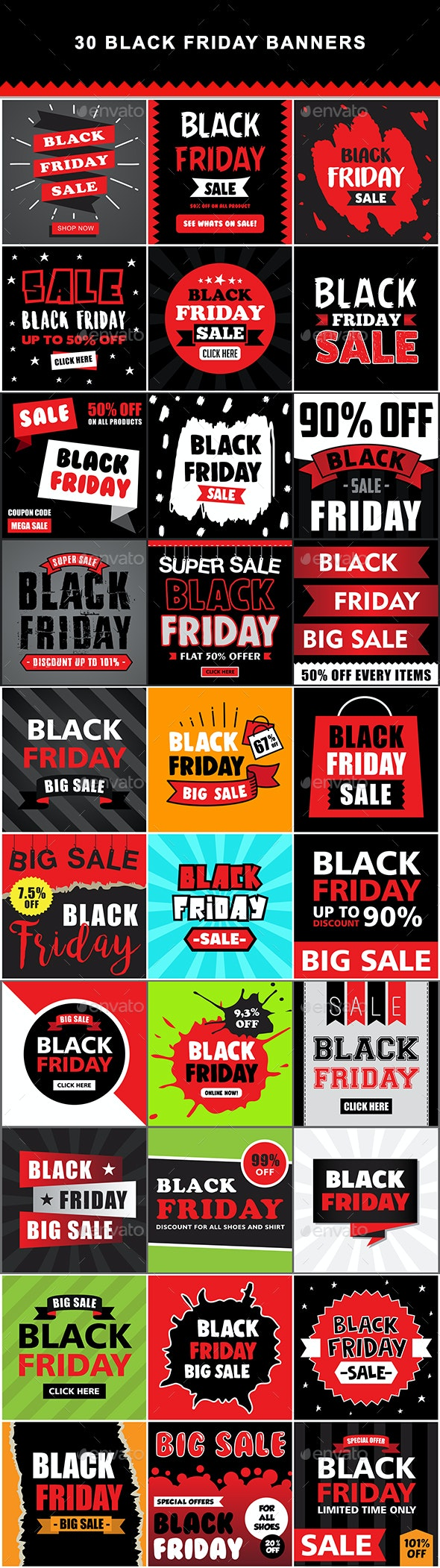 30 Black Friday Banners - Badges & Stickers Web Elements