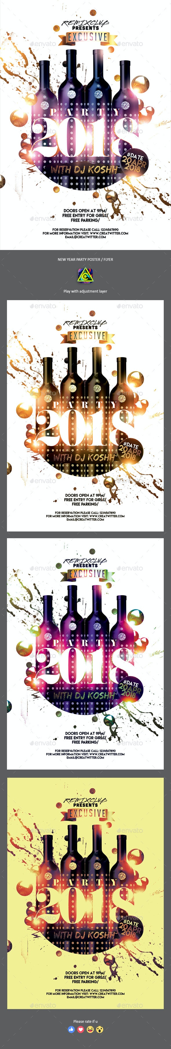 2018 New Year Party Poster / Flyer - Clubs & Parties Events