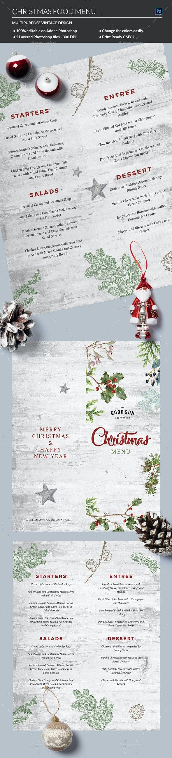 Christmas Menu - Food Menus Print Templates