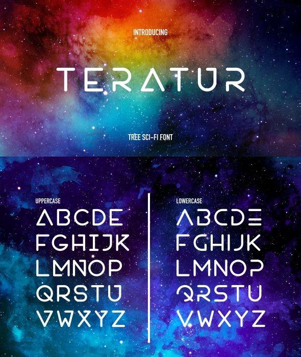 Teratur Typeface - Futuristic Decorative