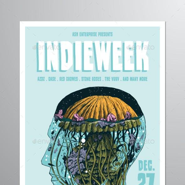 Illustrated Indie Week Flyer Poster