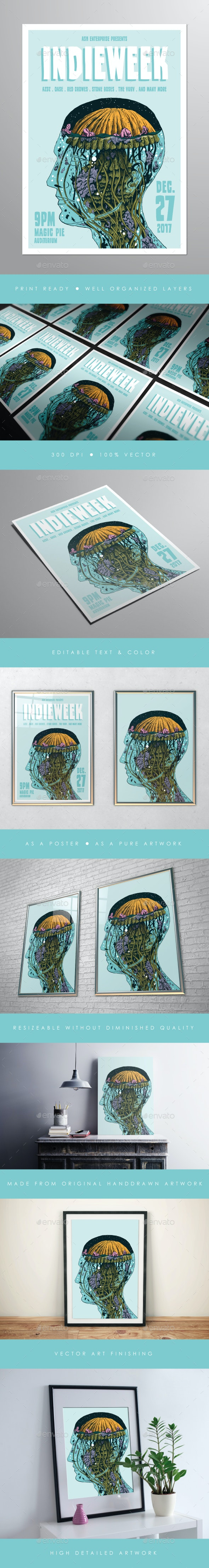 Illustrated Indie Week Flyer Poster - Concerts Events