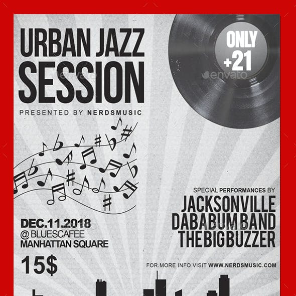 Urban Jazz Session Music Flyer
