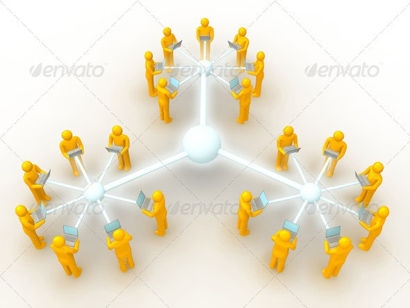 Three Network Connected - Technology 3D Renders