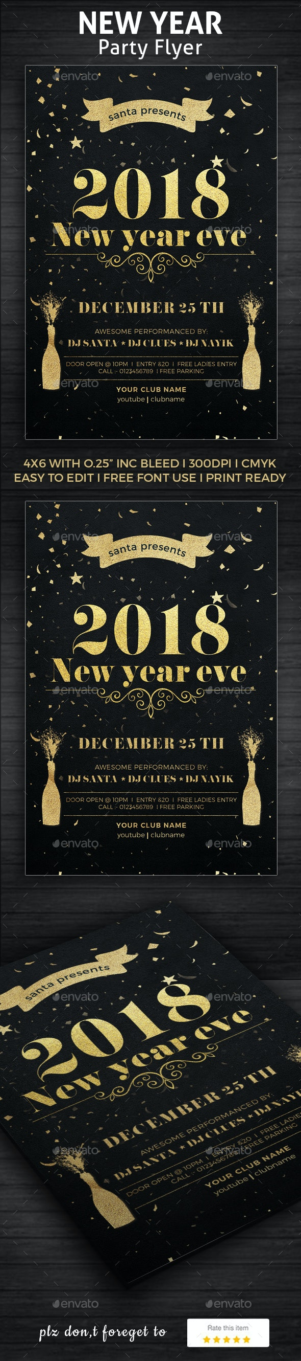 2018 New Year Party Poster - Clubs & Parties Events