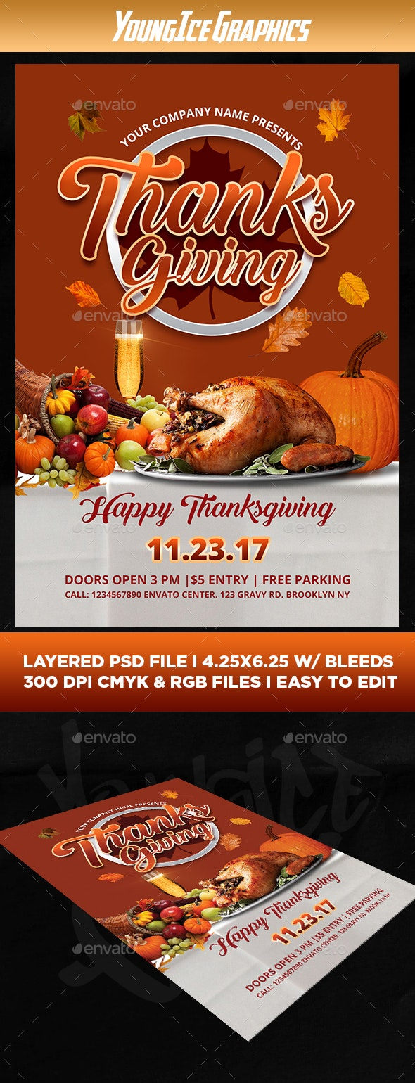Thanksgiving Flyer Template By Youngicegfx Graphicriver