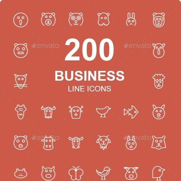 200 Animals line icons