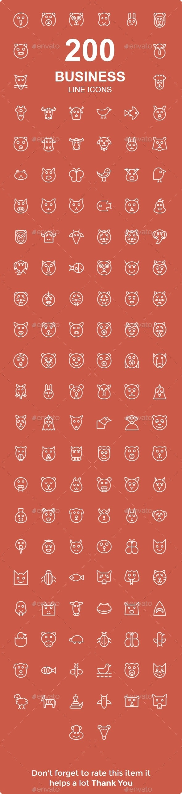200 Animals line icons - Animals Characters