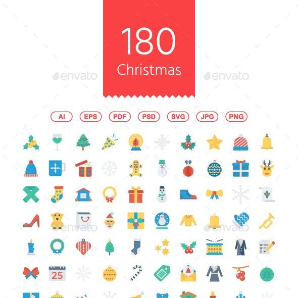 180 Christmas Flat Icons