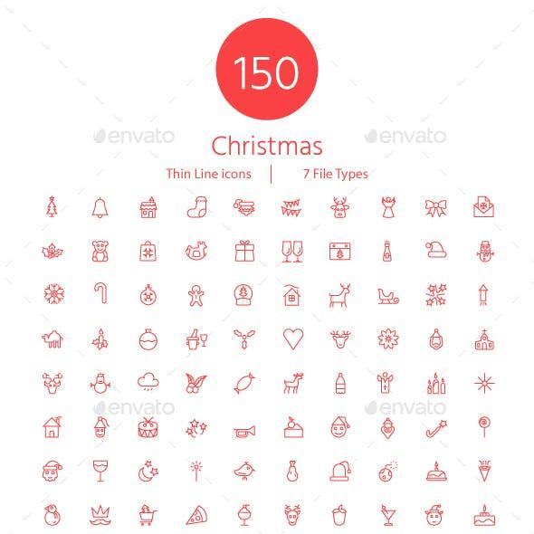 150 Christmas Thin Line Icons