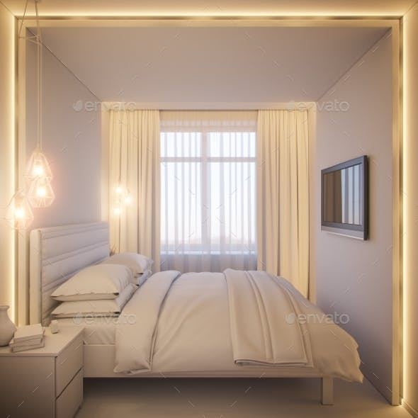 3d Render of an Interior Design of a White