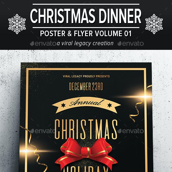 Christmas Holiday Dinner Poster/Flyer V01