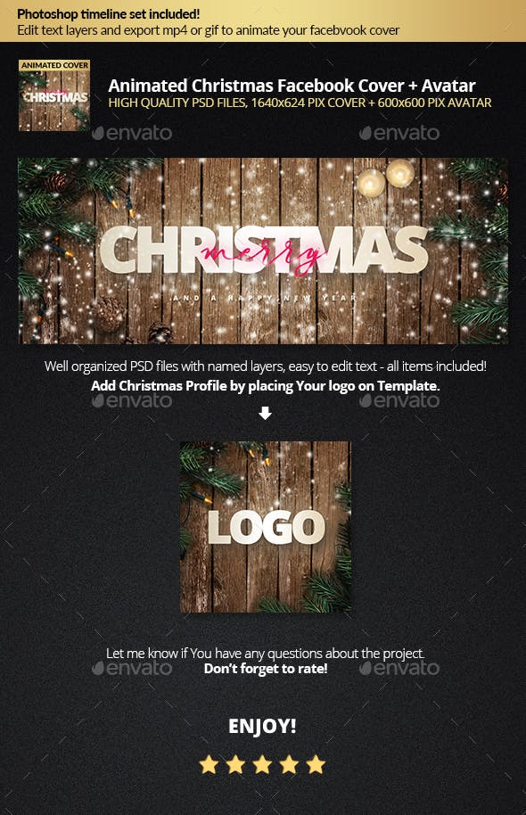 Animated Snowy Christmas Facebook Cover Profile Template By