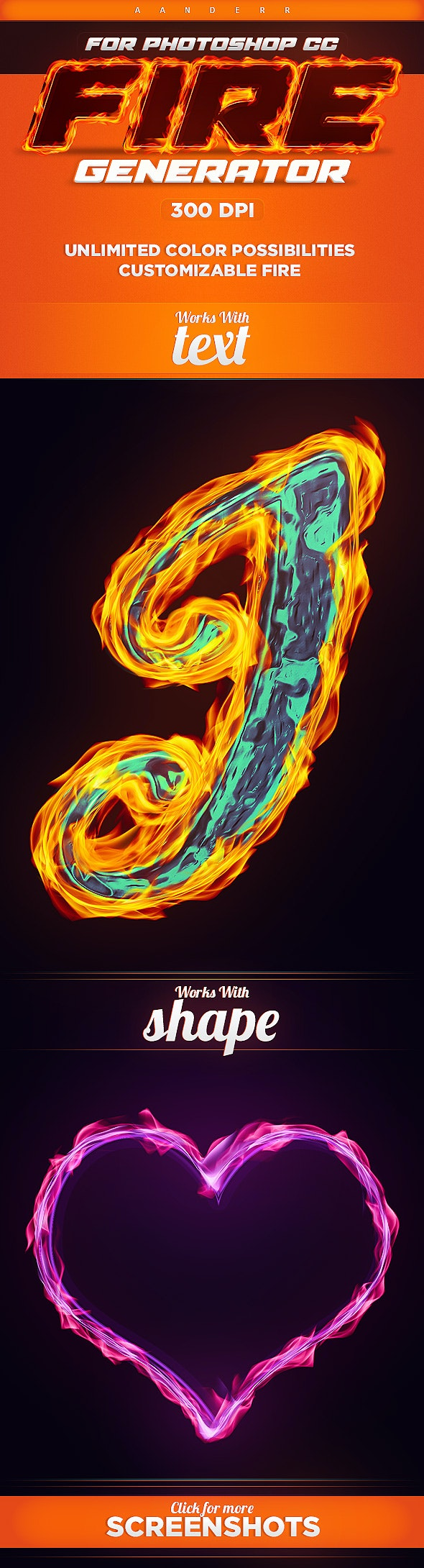Fire Generator Photoshop Action - Text Effects Actions