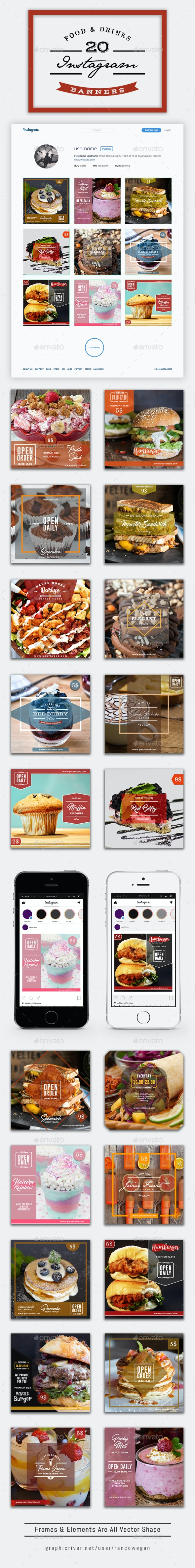 20 Instagram Food & Drinks - Social Media Web Elements
