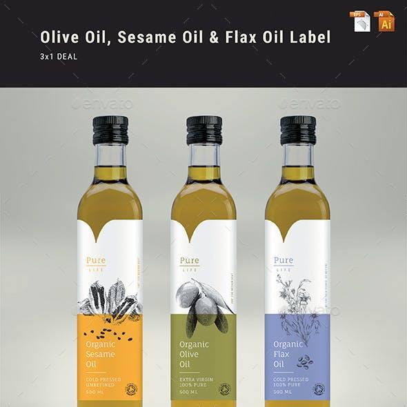 Olive Oil, Sesame Oil & Flax Oil Label