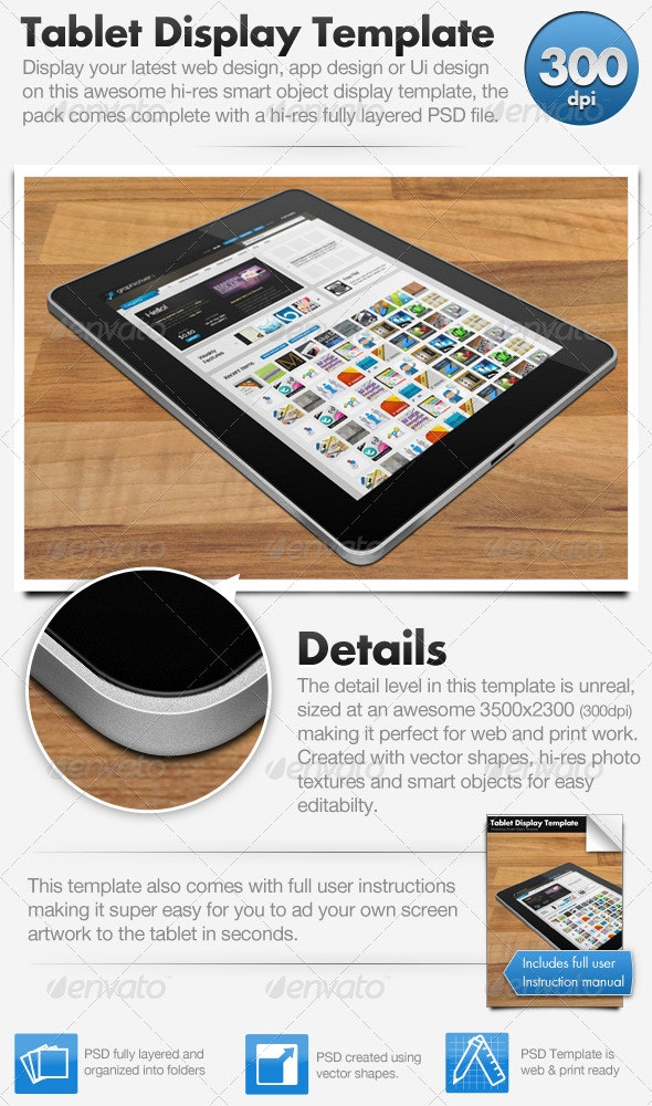 Tablet Display Template (Hi-Res Smart Object) - Technology 3D Renders