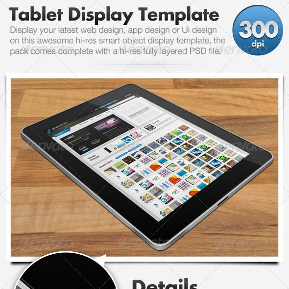 Tablet Display Template (Hi-Res Smart Object)