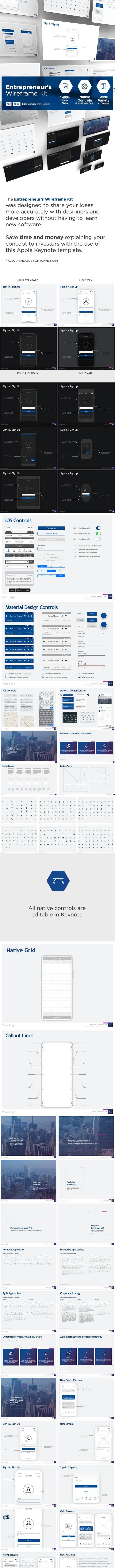 The Entrepreneur's Wireframe Kit - Keynote Version - Business Keynote Templates