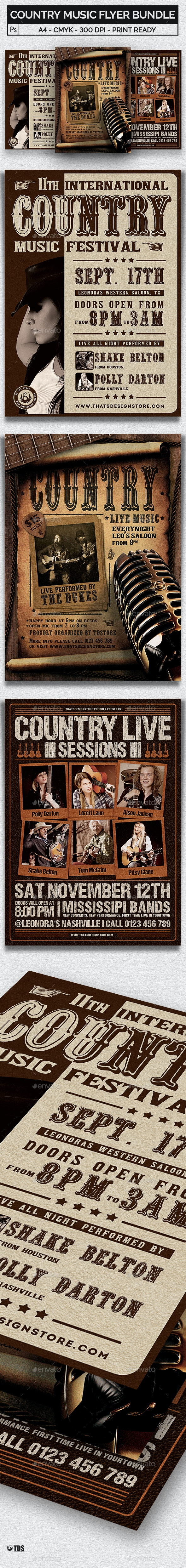 Country Music Flyer Bundle - Concerts Events