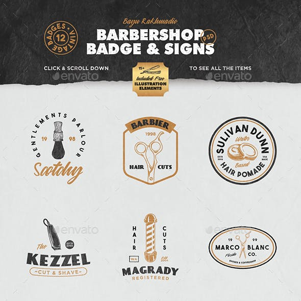 12 Vintage Barber Shop Badge
